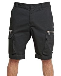 Balmain - Black Cotton Gabardine Cargo Shorts for Men - Lyst