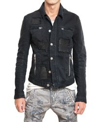Balmain | Black Distressed Denim Sport Jacket for Men | Lyst