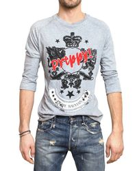 Balmain | Gray Preppy Printed Jersey 3/4 Sleeve T-shirt for Men | Lyst