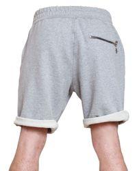 Balmain - Gray Raw Cut Melange Fleece Shorts for Men - Lyst