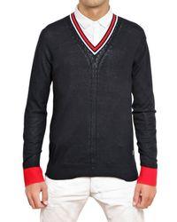 Balmain | Blue Cotton Knit V-neck Sweater for Men | Lyst