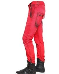 Balmain | Red 17cm Dyed Denim Biker Super Skinny Jeans for Men | Lyst