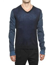 Pringle of Scotland | Blue Cotton Knit V-neck Sweater for Men | Lyst