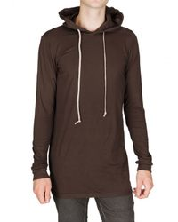 Rick Owens | Brown Hooded Jersey T-shirt for Men | Lyst