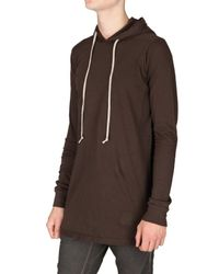 Rick Owens - Brown Hooded Jersey T-shirt for Men - Lyst
