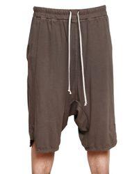 Rick Owens - Brown Poplin Waistband Cotton Jersey Shorts for Men - Lyst