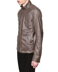 Rick Owens - Brown Serpent Leather Jacket for Men - Lyst