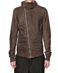 Rick Owens - Brown Velo Soft Hooded Leather Jacket for Men - Lyst