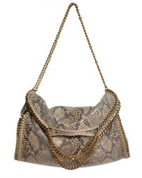 Stella McCartney | Brown Eco Python Falabella Three Chain Shoulde | Lyst