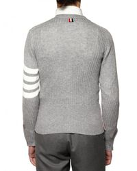 Thom Browne | Gray Cashmere & Cotton Ribbed Knit Sweater for Men | Lyst