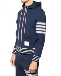 Thom Browne - Blue Stripey Cotton Fleece Hooded Sweatshirt for Men - Lyst