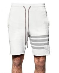Thom Browne | White Cotton Fleece Striped Shorts for Men | Lyst