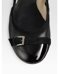 Tod's - Black Patent & Suede Mixed Media Buckled Ballet Flats - Lyst