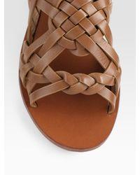 Tory Burch - Brown Killian Interwoven Leather Sandals - Lyst