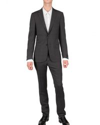Z Zegna - Gray Prince Of Wales Check Serge Wool Suit for Men - Lyst