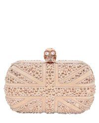 Alexander McQueen | Pink Suede & Swarovski Britannia Skull Clutch | Lyst