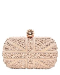 Alexander McQueen   Pink Suede & Swarovski Britannia Skull Clutch   Lyst