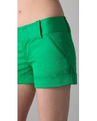 Alice + Olivia - Green Cady Cuff Shorts - Lyst