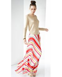 Alice + Olivia | Red Shannon Pleated Maxi Skirt | Lyst
