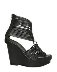 Ann Demeulemeester | Black 120mm Leather Multi String Sandal Wedges | Lyst