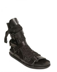 Ann Demeulemeester - Black Cut Out Calfskin Sandals for Men - Lyst