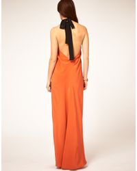 ASOS Collection | Orange Asos Maxi Dress with Halter Neck Tie | Lyst