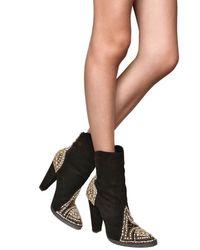 Balmain | Black 110mm Suede Swarovski & Studs Boots | Lyst