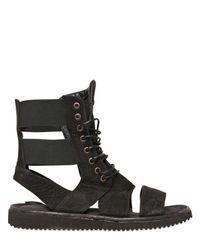 BB Bruno Bordese | Black Nubuck Laced Boot Sandals for Men | Lyst