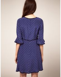 Boutique by Jaeger | Blue Star Print Skater Dress With 3 4 Length Sleeve | Lyst
