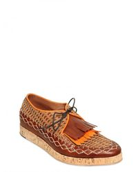 Burberry Prorsum | Brown Fringed Stitched Calfskin Lace-up Shoes for Men | Lyst