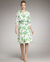 Carolina Herrera | Green Sparrow-print Shirtdress | Lyst