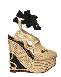 Charlotte Olympia   Natural 160mm Straw & Silk Wedges   Lyst