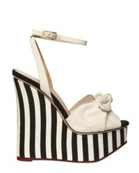 Charlotte Olympia | White 160mm Striped Cotton Linen Wedges | Lyst