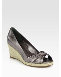 Cole Haan | Air Camila Espadrille Metallic Leather Wedge Sandals | Lyst