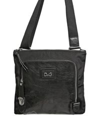 Dolce & Gabbana - Black Nylon and Bufalo Flat Shoulder Bag for Men - Lyst