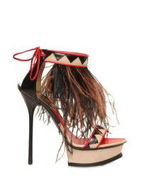 DSquared² | Black 140mm Leather & Ostrich Feathers Sandals | Lyst