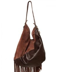 DSquared² - Brown Suede & Leather Fringed Shoulder Bag - Lyst