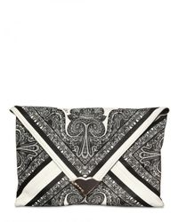 Etro | Black Printed Leather Clutch | Lyst