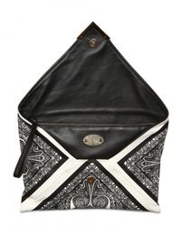 Etro - Black Printed Leather Clutch - Lyst