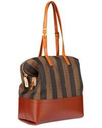 Fendi | Brown 2bag Pequin Jacquard Calfskin Top Handle | Lyst