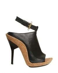 Givenchy | Black 120mm Leather Open Toe Bootie Sandals | Lyst