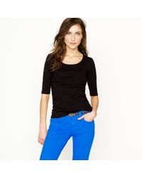 J.Crew | Black Perfect-Fit Ballet Button Tee | Lyst