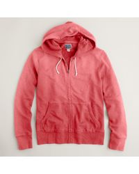 J.Crew | Red Sunwashed Fleece Zip Hoodie for Men | Lyst