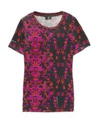 Just Cavalli | Purple Floral-print Stretch-jersey T-shirt | Lyst