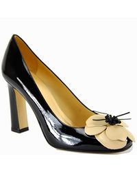 kate spade new york | Zaria - Black Patent Leather Flower Pump | Lyst
