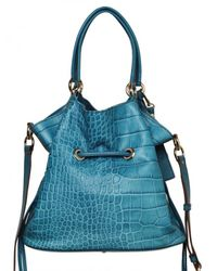 Lancel - Blue Premiere Flirt Leather Croco Print Shoul - Lyst