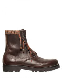 Lanvin - Brown Woven Lace Up Calfskin Hiking Boots for Men - Lyst