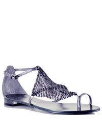 Lola Cruz | Blue 135z10bk - Pewter Metallic Mesh Toe Ring Sandal | Lyst