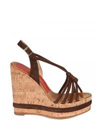 Paloma Barceló - Brown 120mm Woven Suede Sandal Wedges - Lyst