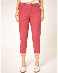 Paul by Paul Smith - Pink Cotton Crop Trouser - Lyst